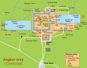 Карта храмового комплекса Ангкор-Ват, провинция Сиемриап, Камбоджа.