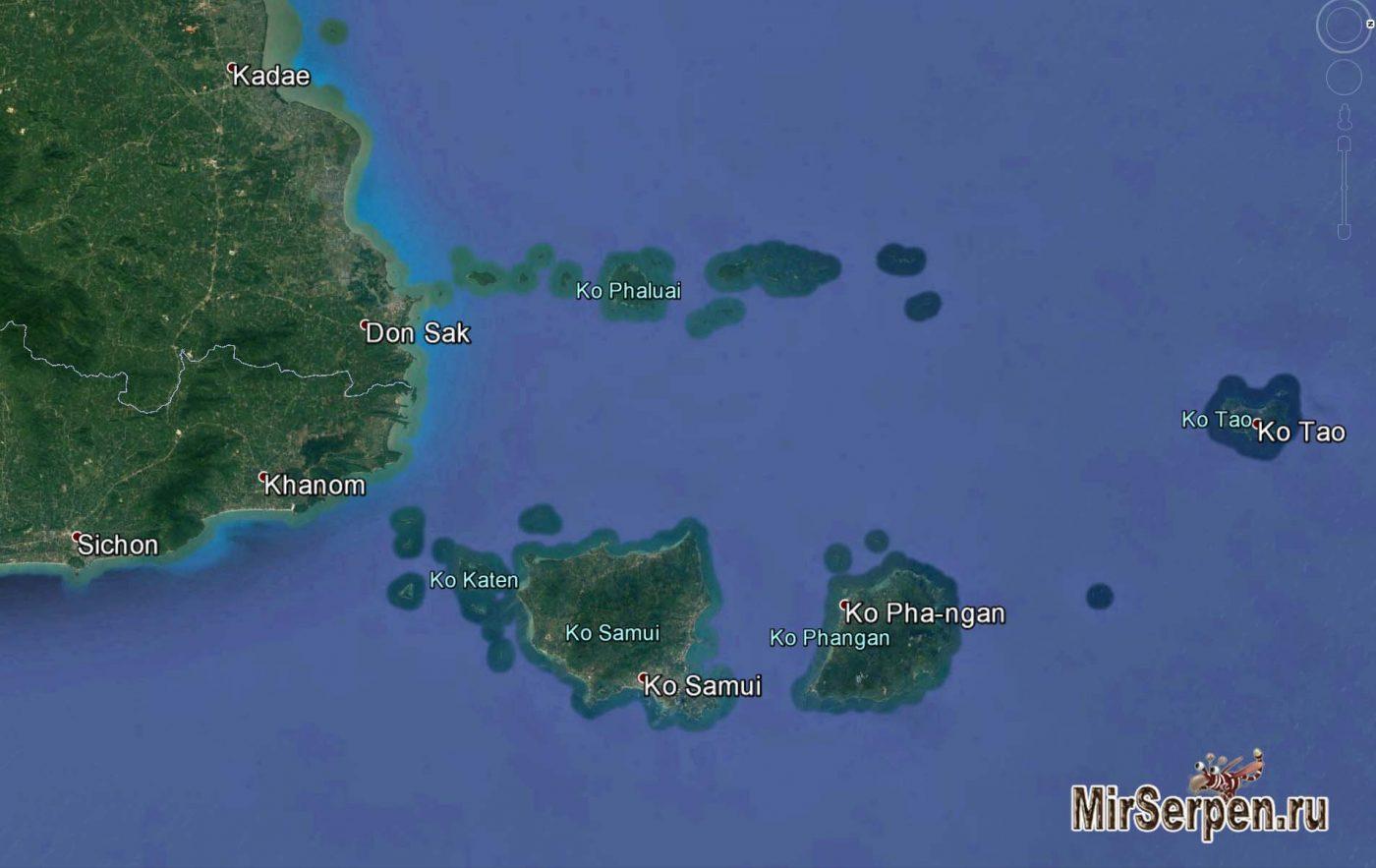 Карта острова Самуй и ближайших островов
