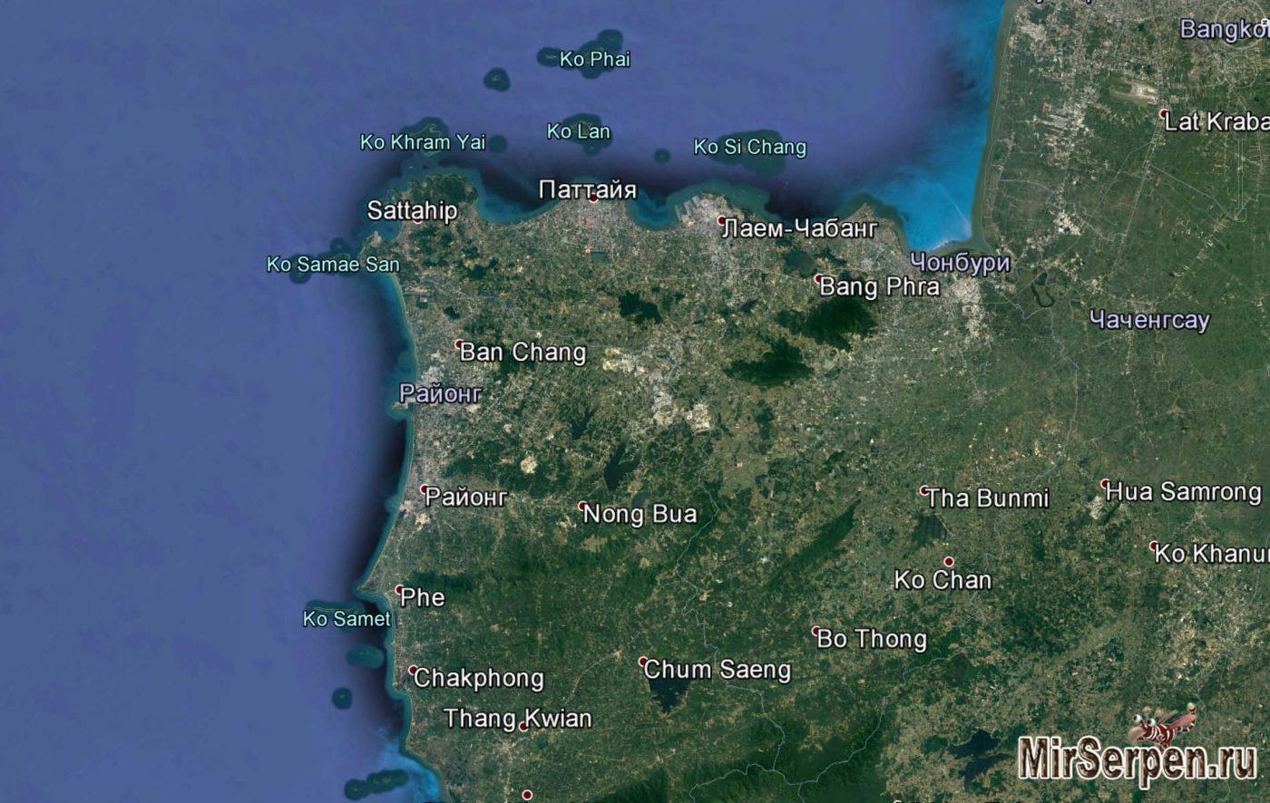 Карта Паттайи и ближайших островов