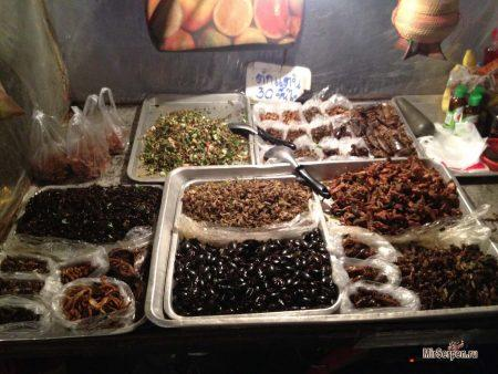 Жареные насекомые на улице Khao San в Бангкоке